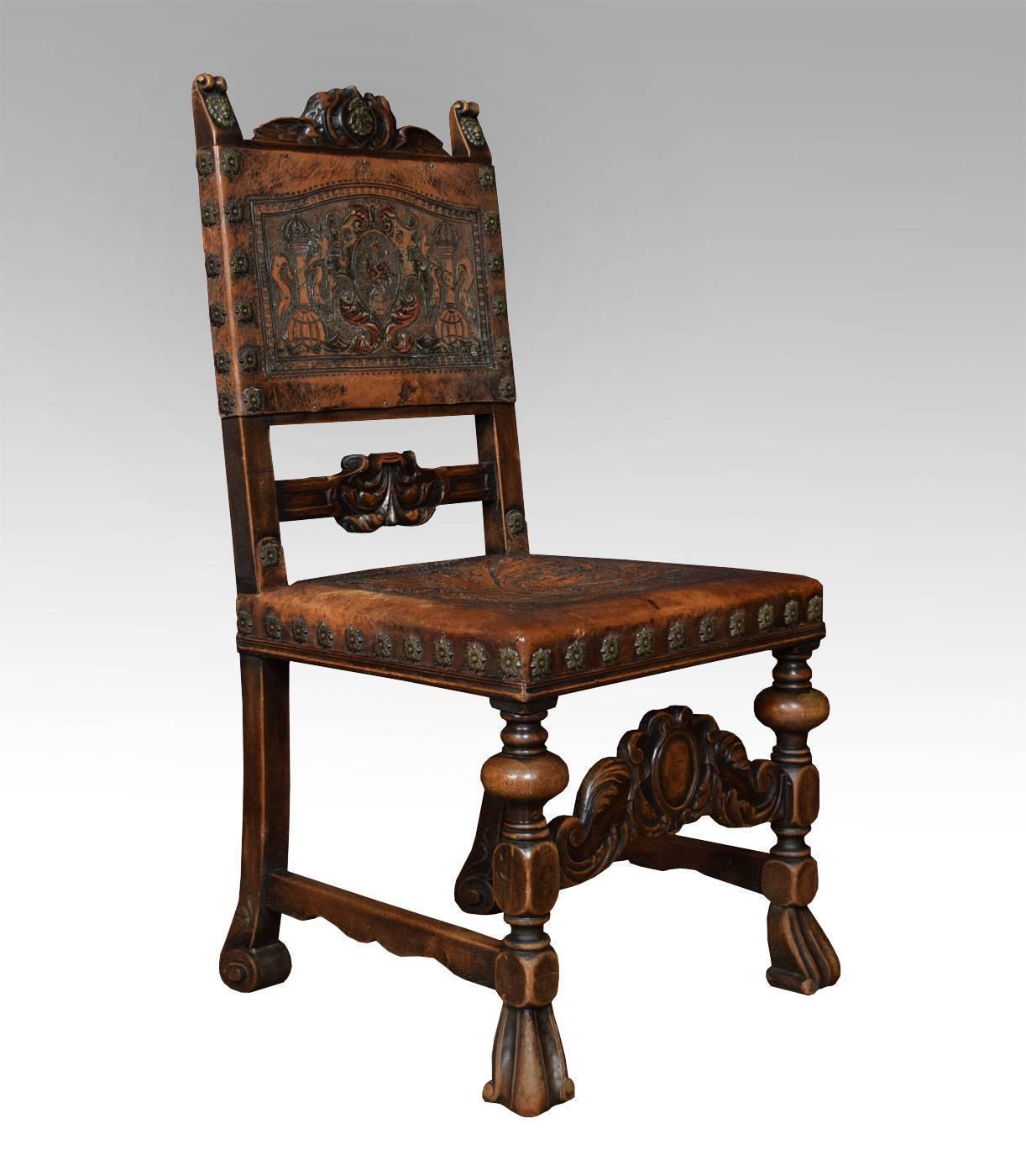 Set of fourteen baroque style walnut dining chairs at 1stdibs for Baroque style dining chairs