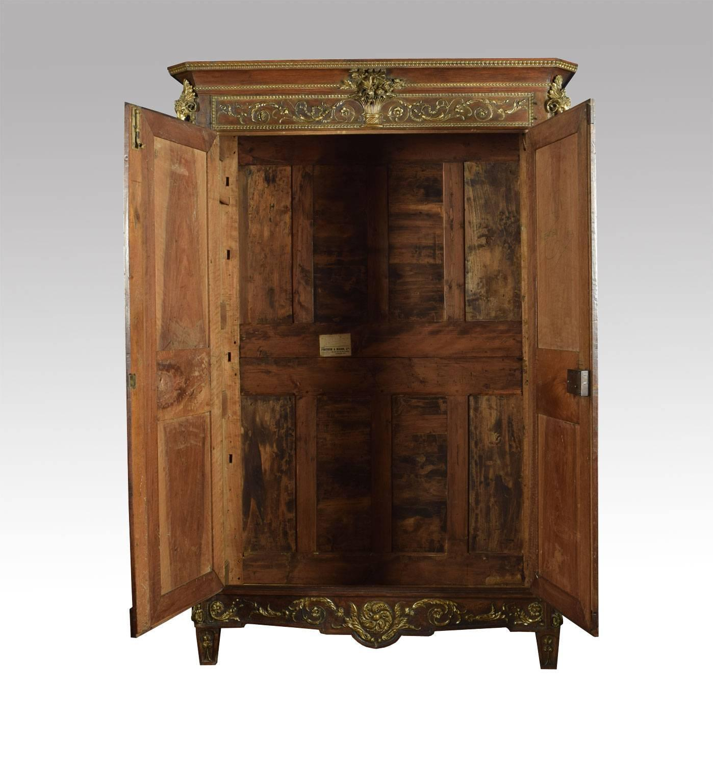 louis xv french walnut armoire for sale at 1stdibs. Black Bedroom Furniture Sets. Home Design Ideas