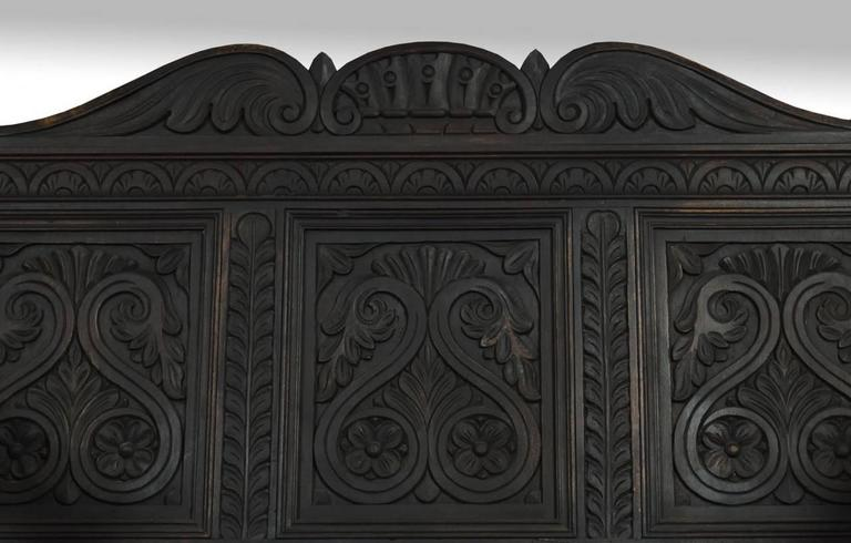 Pair of Carved Ebonized Hall Benches In Excellent Condition For Sale In Cheshire, GB