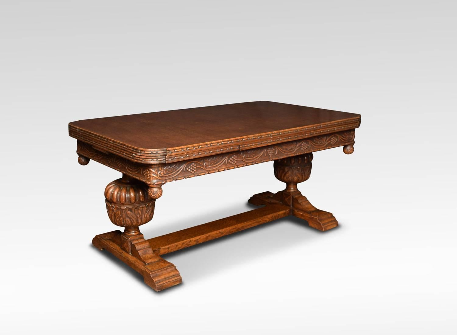 Impressive Oak Drawer Leaf Table The Large Rectangular Pull Out Top With  Rounded Corners To