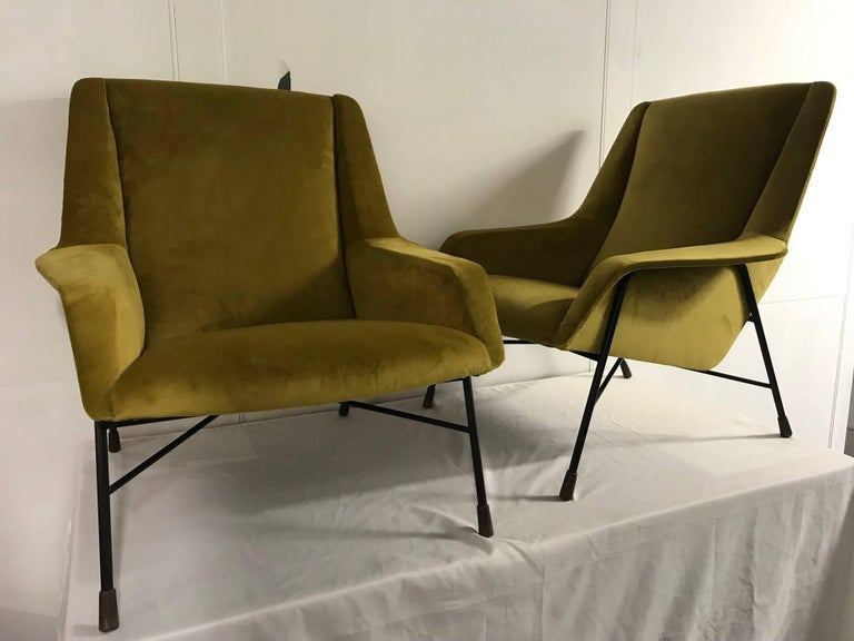 Pair of italian armchairs, 1960s, recently reupholstered with a yellow velvet.