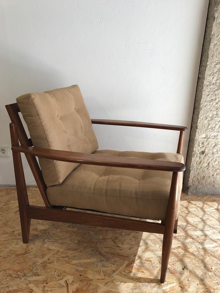 1960s Brazilian armchairs, pau santo wood, recently reupholstered.