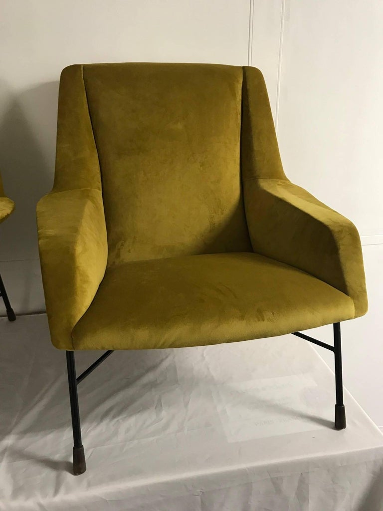 Metal Pair of Italian Armchairs, 1960s For Sale