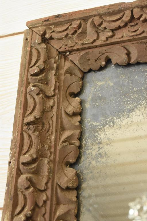 17th Century Spanish Wood Carved Frame With Hints Of