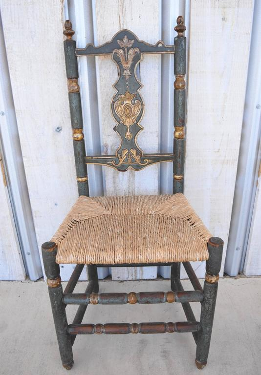 Six Italian Saint Anna Chairs From Abruzzo With Blue Paint