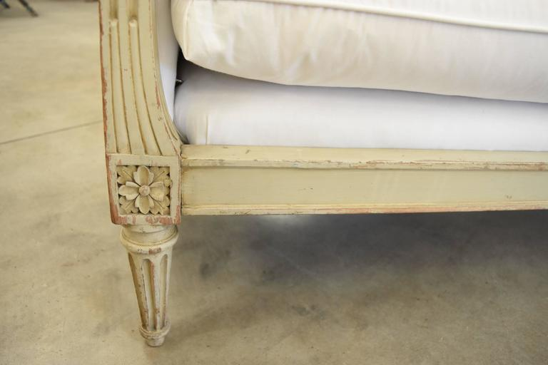 French 19th Century Painted Original Pale Green Napoleon Settee For Sale 2
