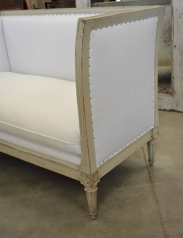 French 19th Century Painted Original Pale Green Napoleon Settee For Sale 3
