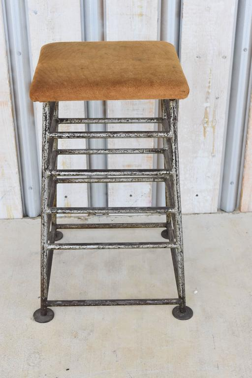 Vintage French Iron Gym Stand or Barstool with Original Suede Leather Top 2