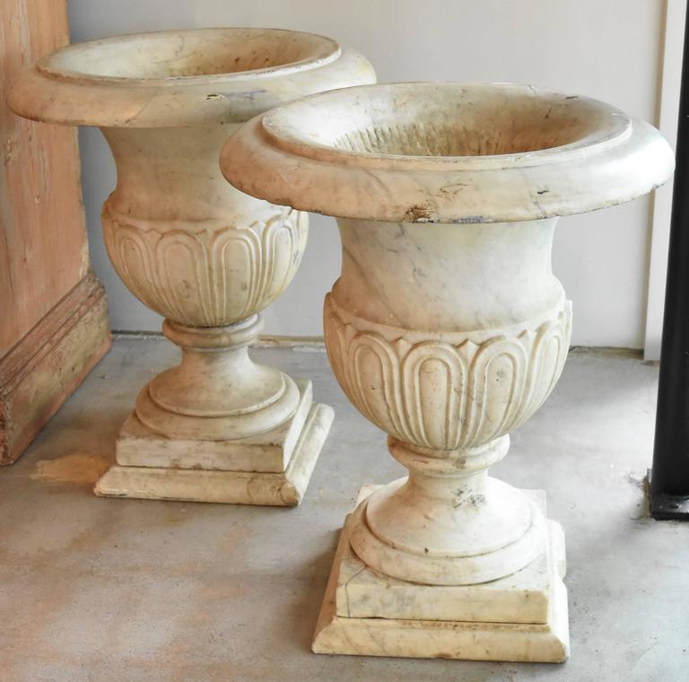 Lovely Carrara marble urns from Italy make any home elegant. They are white with gray veining. There are some minor chips and repaired breaks from age and moving, but it doesn't take away from its beauty at all.