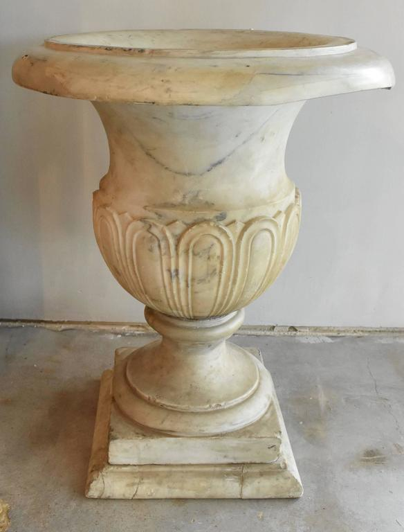 Carved Italian 19th Century Carrara Marble Urns For Sale