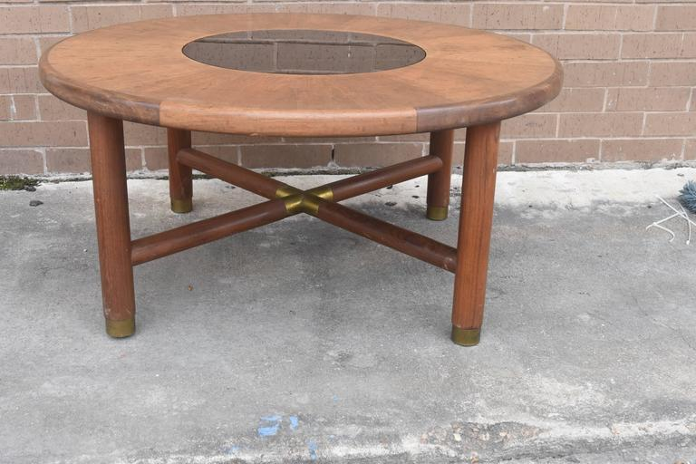 Late 20th Century Mid-Century Danish Rosewood Coffee Table with Smoke Glass Inset and Brass For Sale