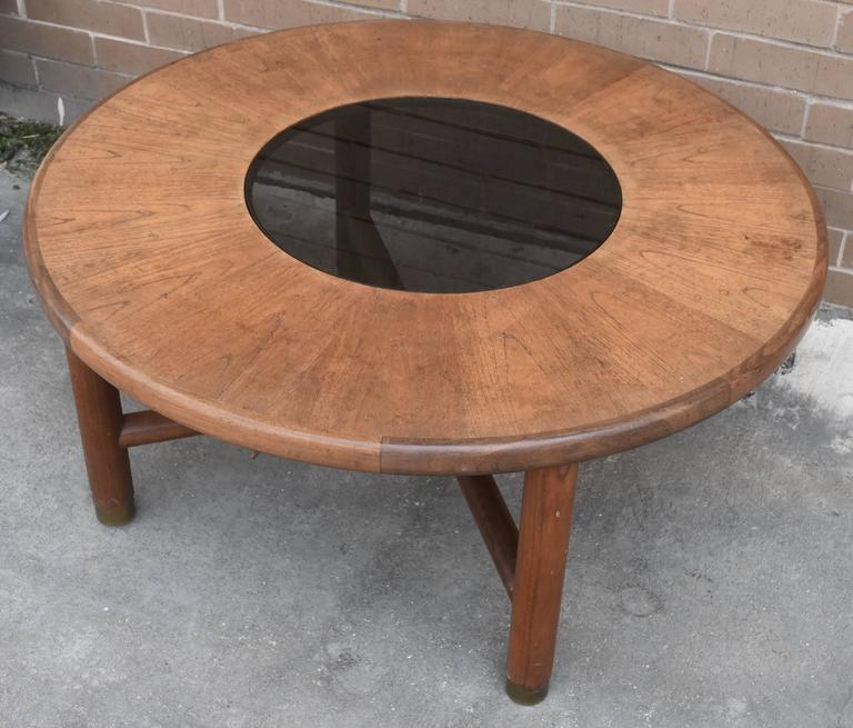 Mid-Century Danish Rosewood Coffee Table with Smoke Glass Inset and Brass For Sale 2