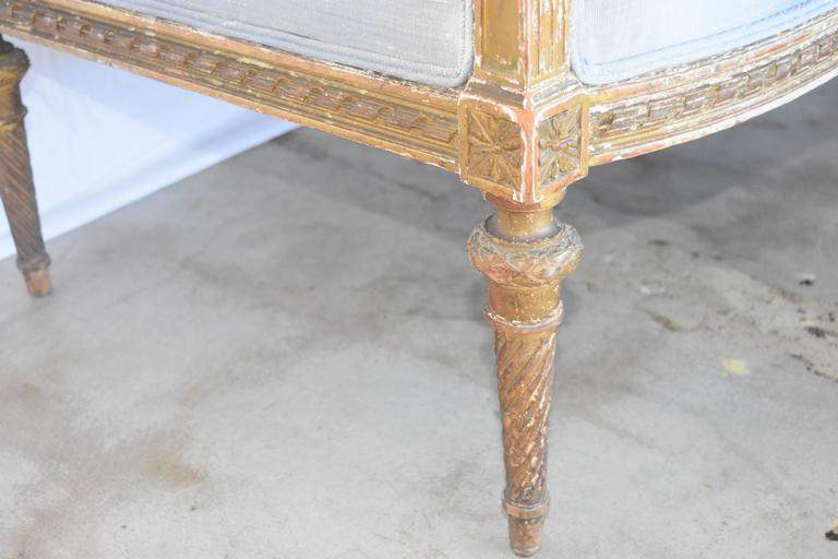 19th Century French Louis XVI Gold Gilt Settee with Light Gray Raw Silk and Down In Good Condition For Sale In Houston, TX