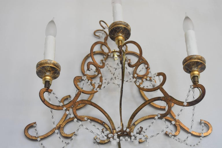 Italian Vintage Gold Gilt Metal Sconces With Gold Bobeches