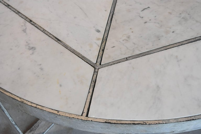 Silver Leaf over Iron with Marble Inset in Round Coffee Table from Europe For Sale 2