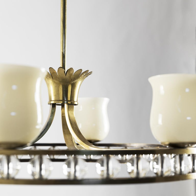 Glass and Brass Chandelier in the Manner of Fontana Arte In Good Condition For Sale In Milan, IT