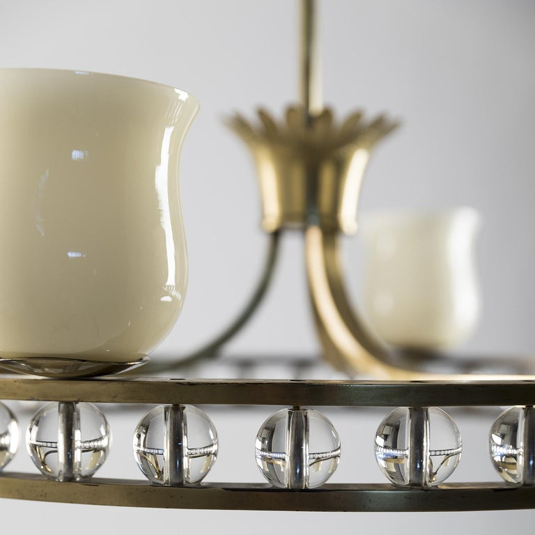 Mid-20th Century Glass and Brass Chandelier in the Manner of Fontana Arte For Sale