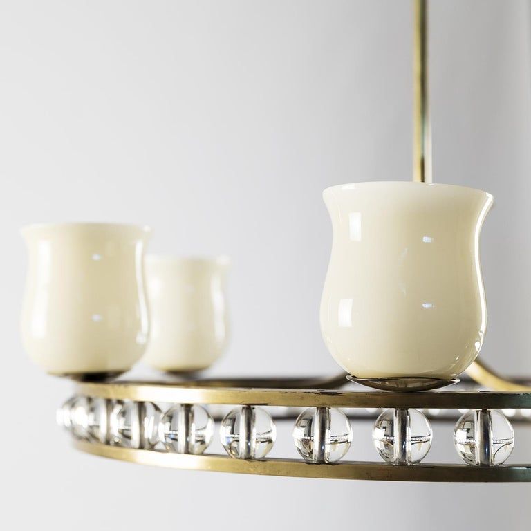 Glass and Brass Chandelier in the Manner of Fontana Arte For Sale 1