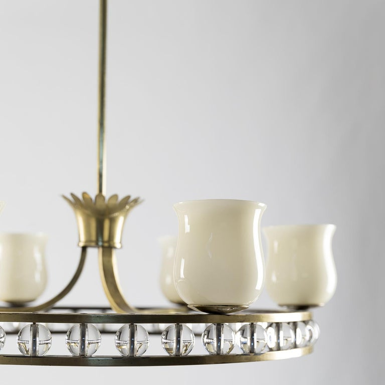 Glass and Brass Chandelier in the Manner of Fontana Arte For Sale 2