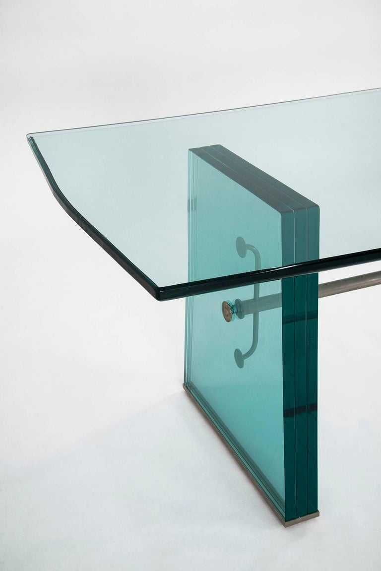 Italian Pietro Chiesa Extraordinary Glass Dining Table for Fontana Arte, 1934