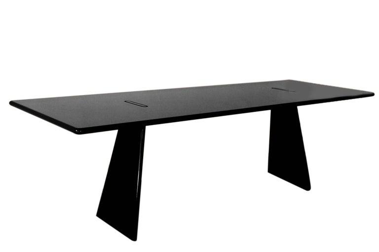 "1981 Angelo Mangiarotti Black Table from the Series ""Asolo"" in Dark Granite 2"