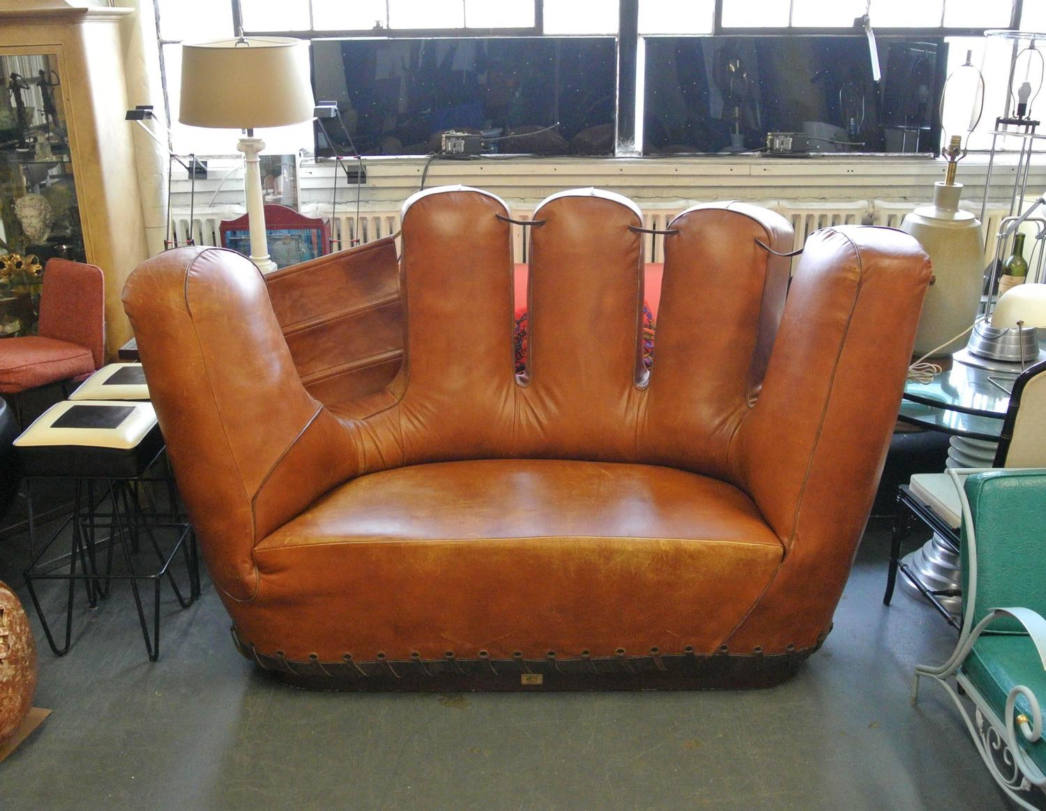 Stiles brothers leather baseball glove sofa image 2 Baseball sofa