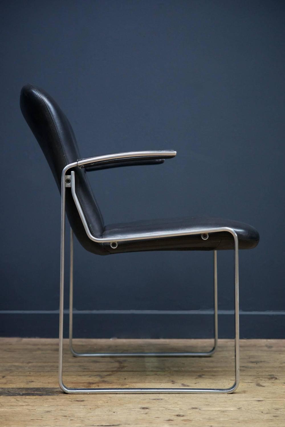 Black leather armchairs at 1stdibs
