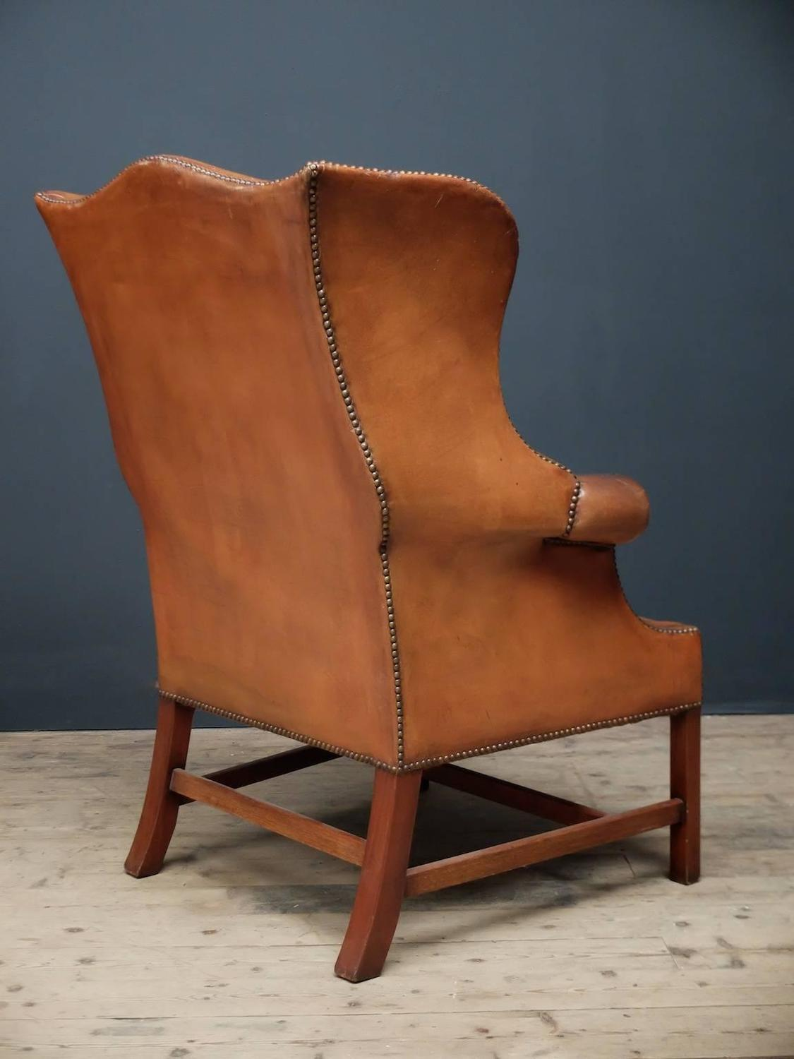 Leather wingback armchair for sale at 1stdibs for Leather wingback recliner sale