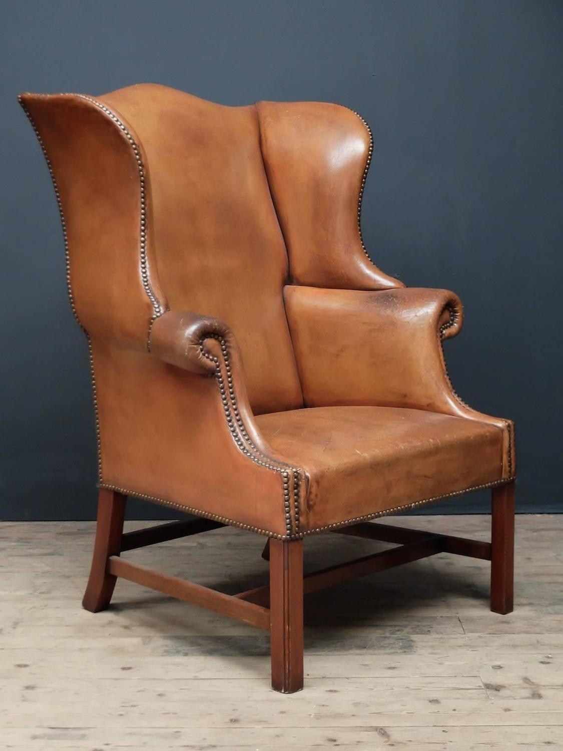leather wingback armchair for sale at 1stdibs. Black Bedroom Furniture Sets. Home Design Ideas