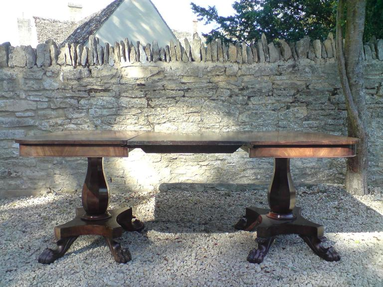 George IV Antique Twin Pedestal Dining Table, Mahogany, circa 1830 For Sale
