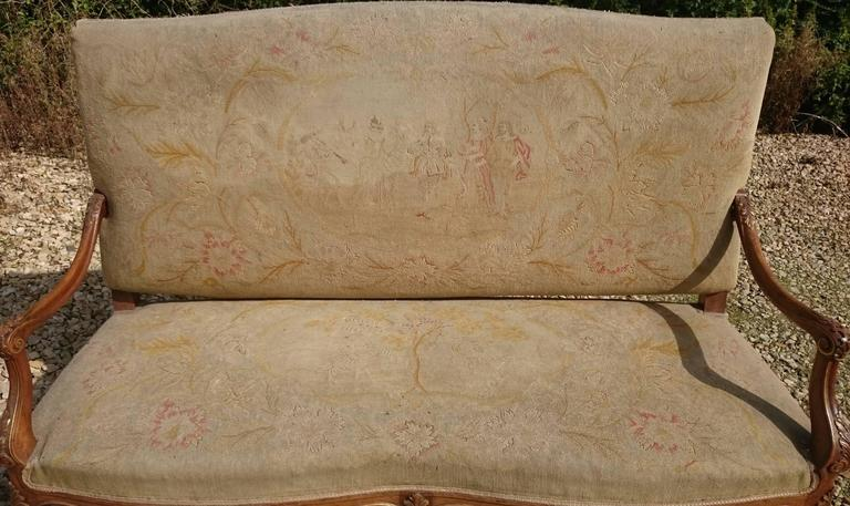 Beautiful Walnut and Gilt French Sofa with Antique Fabric 2