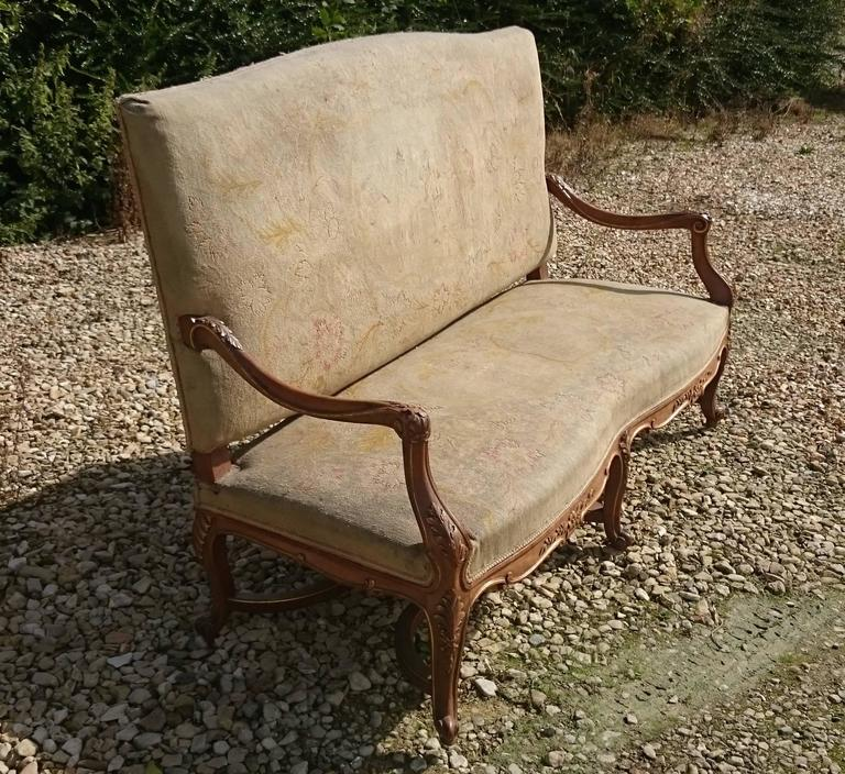 Beautiful Walnut and Gilt French Sofa with Antique Fabric 4