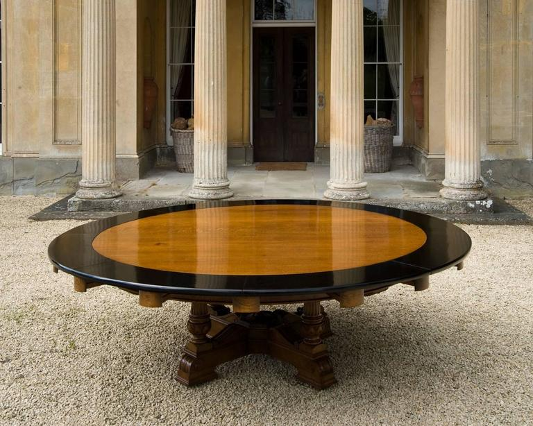 Massive Thirteen Foot Wide Round Oak Antique Dining Table