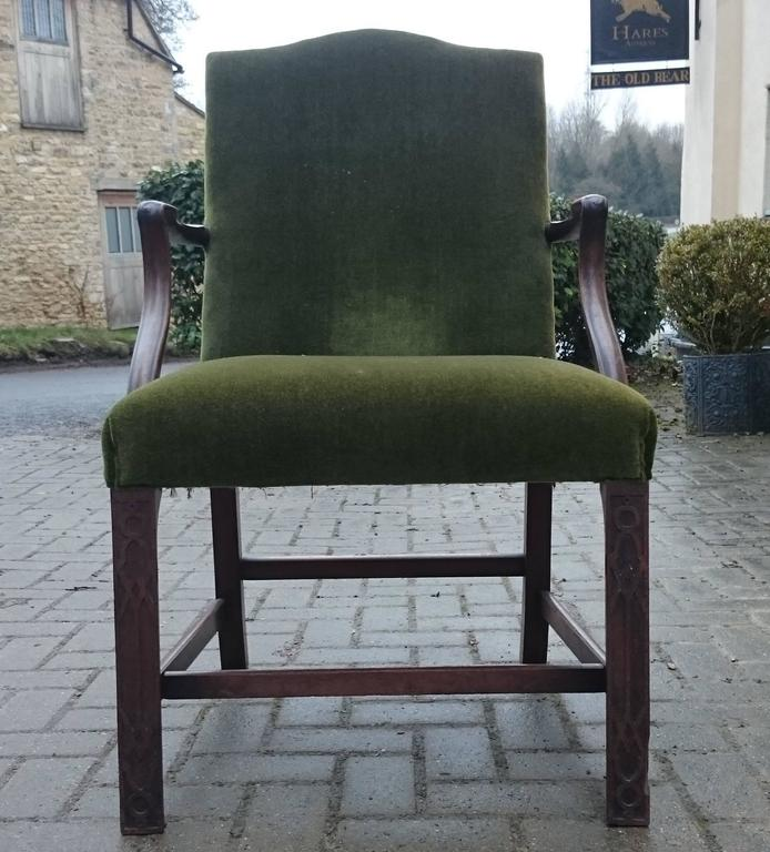 Victorian 19th Century Gainsborough Library Chair in the Manner of Thomas Chippendale For Sale