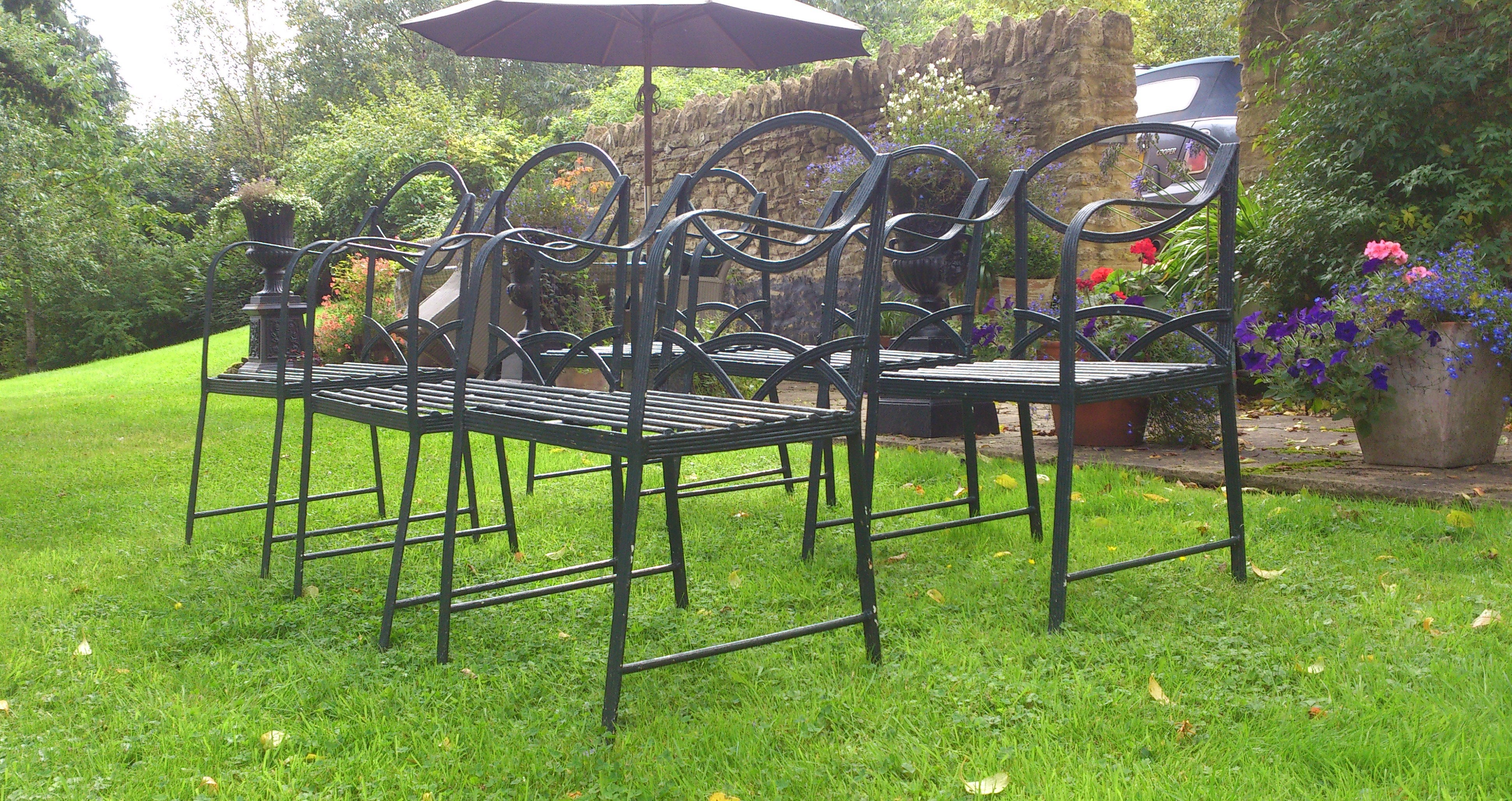 Awe Inspiring Set Of Six Hand Made Wrought Iron Garden Chairs In The Regency Style Download Free Architecture Designs Rallybritishbridgeorg