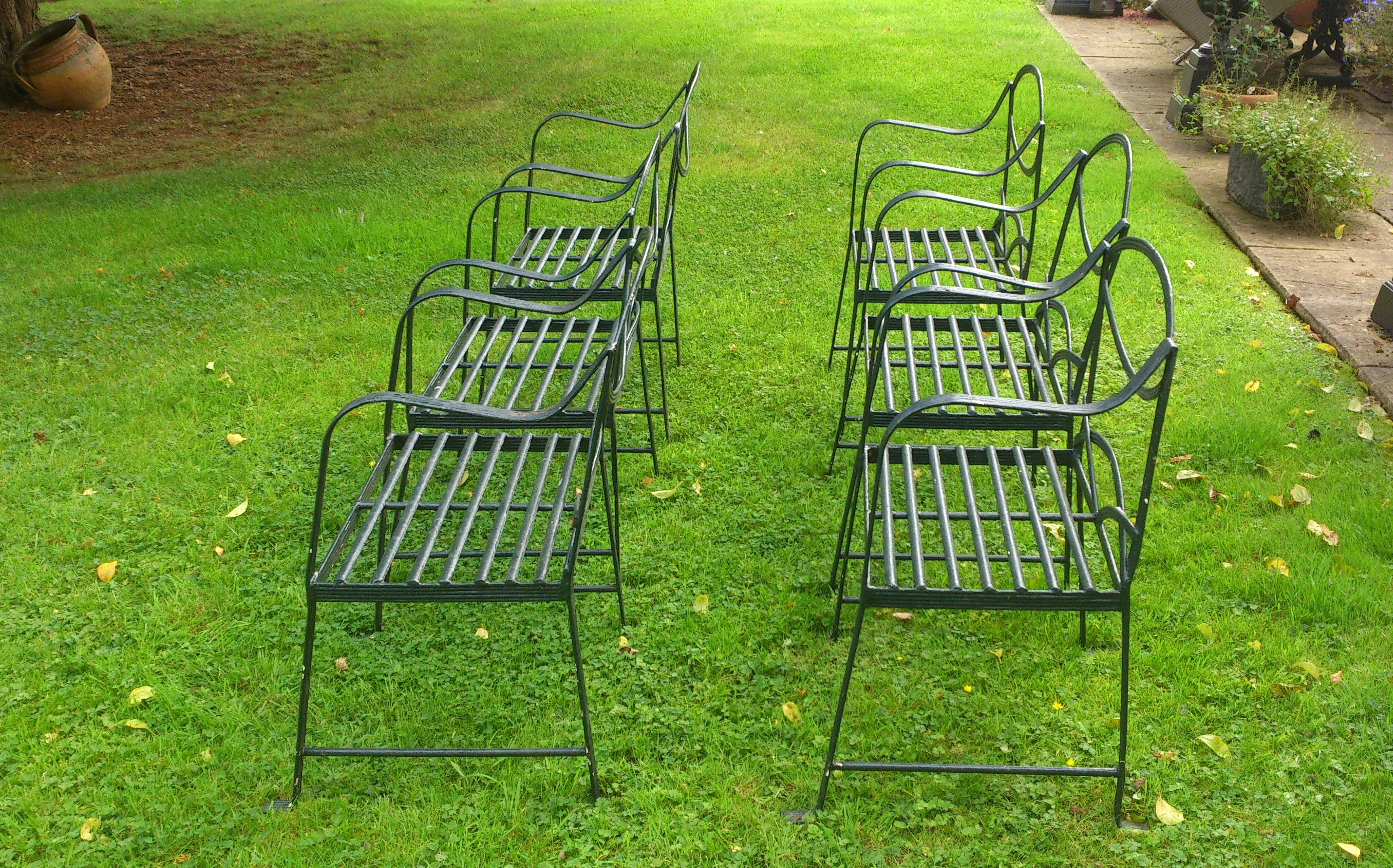 Remarkable Set Of Six Hand Made Wrought Iron Garden Chairs In The Regency Style Download Free Architecture Designs Rallybritishbridgeorg