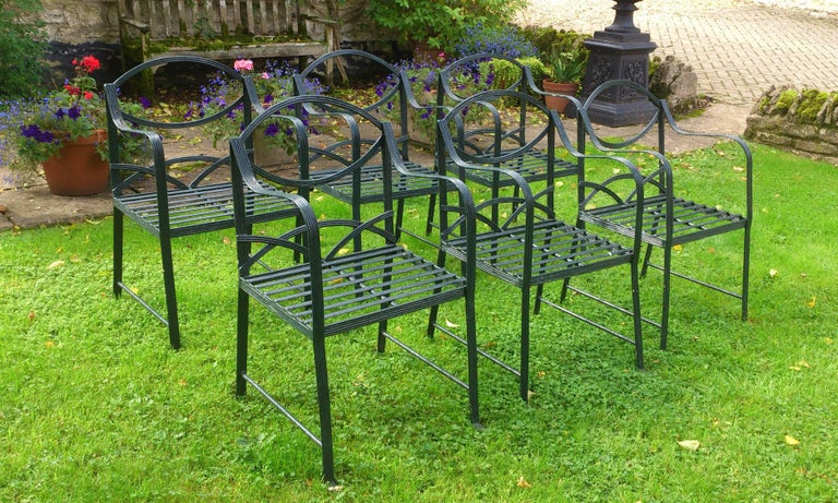 Set Of Six Hand Made Wrought Iron Garden Chairs In The Regency Style For 3