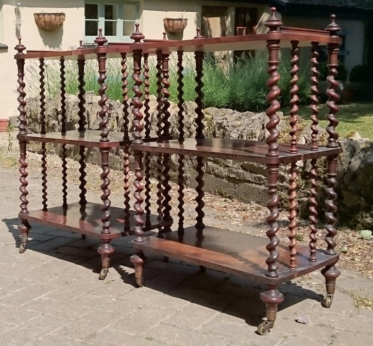 19th Century Pair of Antique Victorian Period Antique Whatnots by Howard and Sons of London For Sale