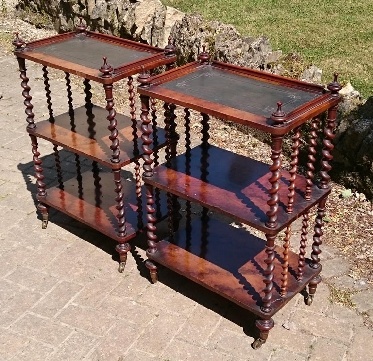 Pair of Antique Victorian Period Antique Whatnots by Howard and Sons of London In Good Condition For Sale In Gloucestershire, GB