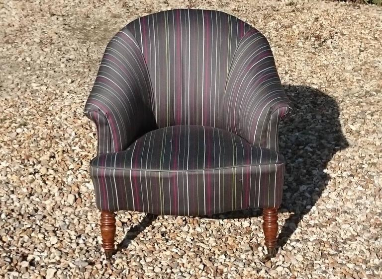 Antique Tub Chairs Standing On Turned Front Legs With Recent Fabric And  Casters All Round,
