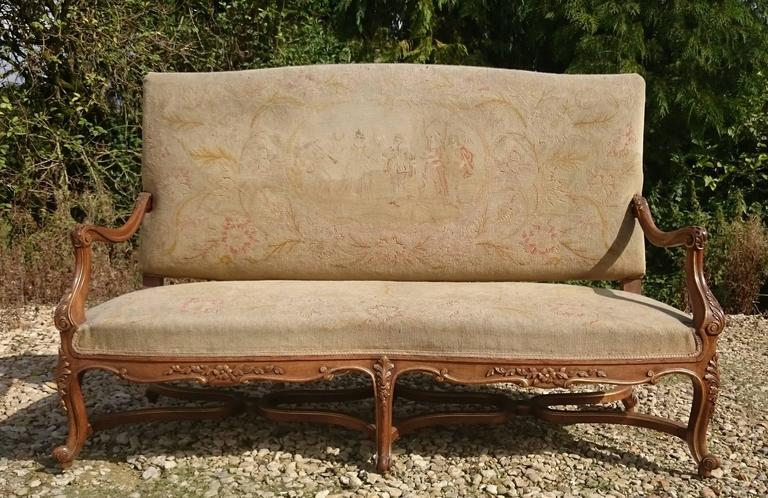 Beautiful Walnut and Gilt French Sofa with Antique Fabric 7