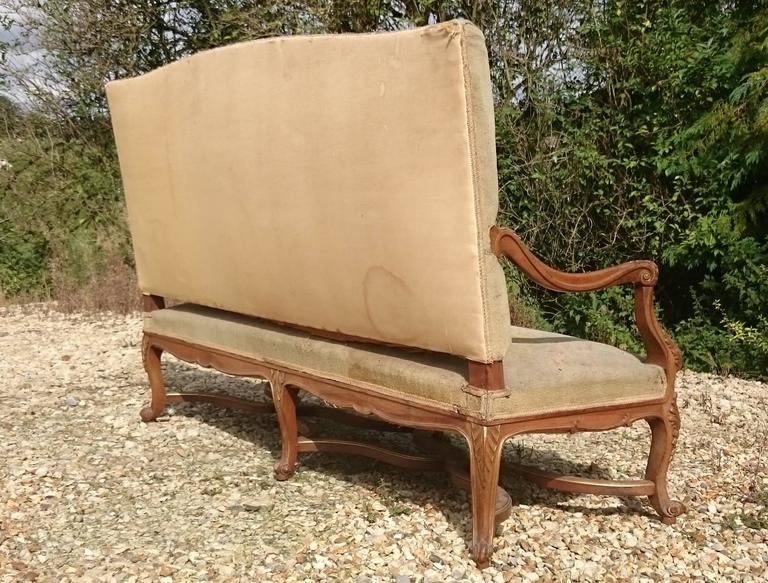 Beautiful Walnut and Gilt French Sofa with Antique Fabric 8