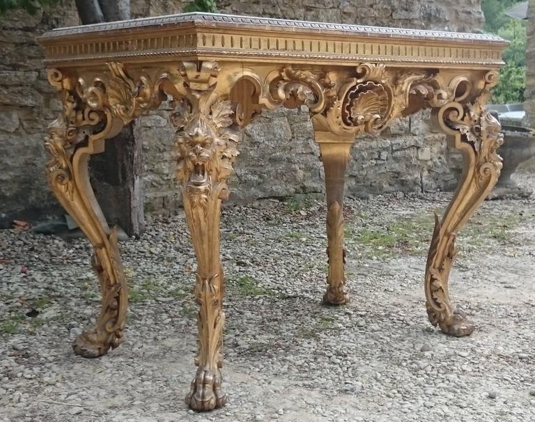 Baroque Large Scale 18th Century Free Standing Gilt Wood Hall Table Or Console  Table For Sale