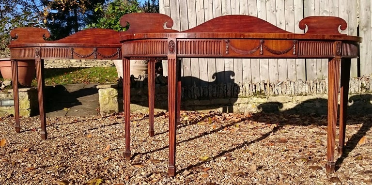 Pair of Early 19th Century George III Period Mahogany Console Serving Tables For Sale 3
