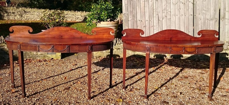 Pair of Early 19th Century George III Period Mahogany Console Serving Tables For Sale 4