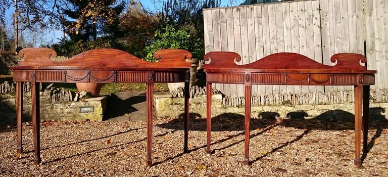Pair of Early 19th Century George III Period Mahogany Console Serving Tables For Sale 5