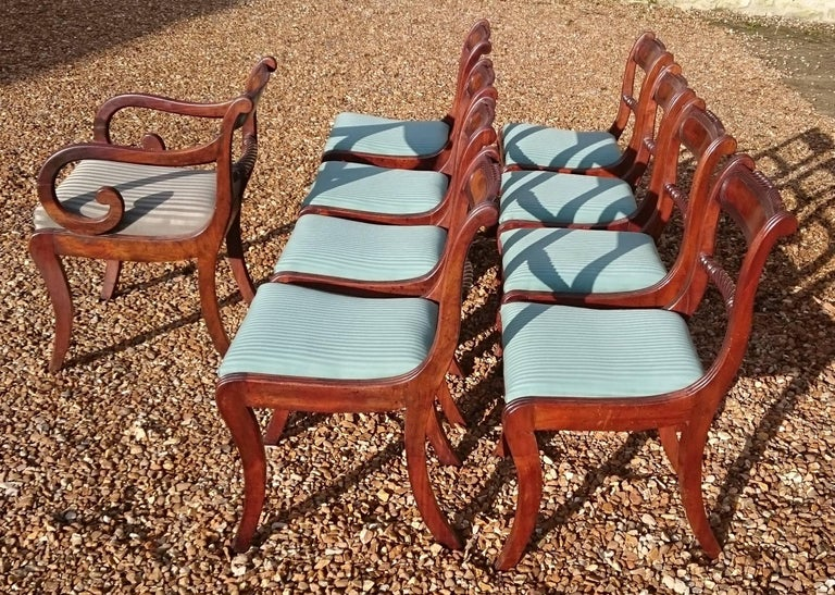 Early 19th Century Regency Mahogany Set Of Nine Antique Dining Chairs In Excellent Condition For Sale In Gloucestershire, GB