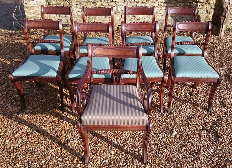 British Early 19th Century Regency Mahogany Set Of Nine Antique Dining Chairs For Sale