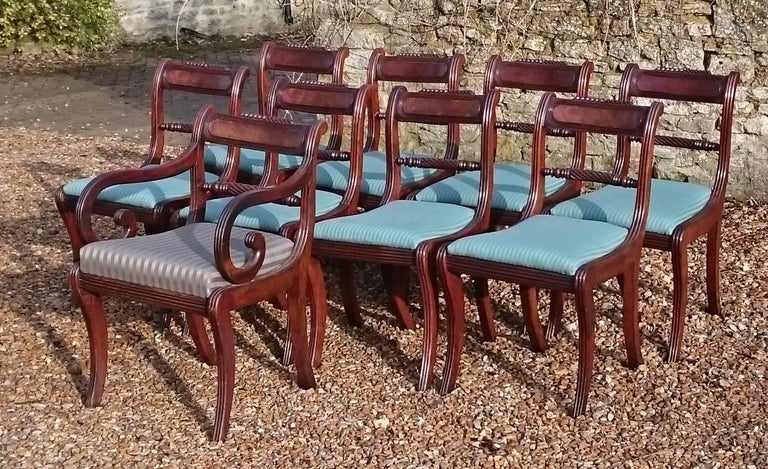 Early 19th Century Regency Mahogany Set Of Nine Antique Dining Chairs For Sale 3