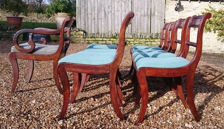 Early 19th Century Regency Mahogany Set Of Nine Antique Dining Chairs For Sale 6
